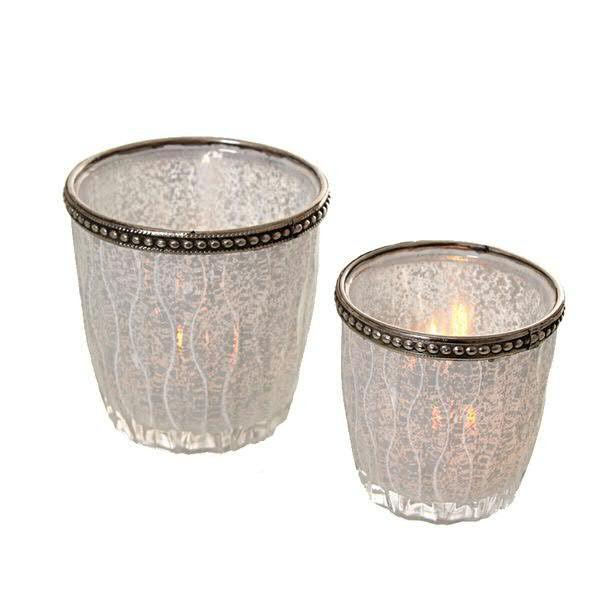 Glas Teelicht D7,5H8cm mit Metallrand, weiß