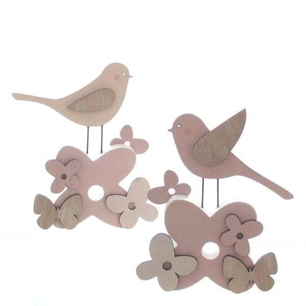 Vogel Holz vogel holz 11x14cm sortiert samt rosa creme vögel figuren