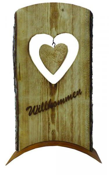 Rost/Holz Herz 60x35cm Willkommen