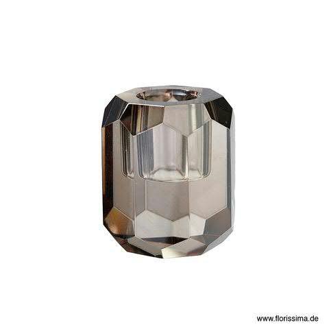 Glas Kerzenständer D5H6cm Kristall, grau