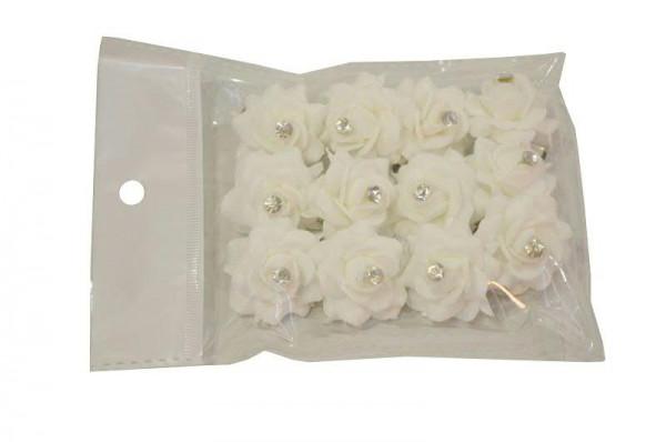 Rose Diamant SP m.Nadel 3,5cm 12St., weiß