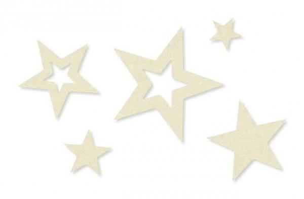 Sterne Filz 2/3/5/7cm 100St., 70 creme