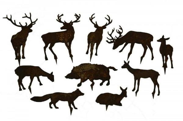 Rost W Tiere 10St. bis 16cm z.Stecken 4x Hirsch, 4x Reh, Fuchs, Wildschwein