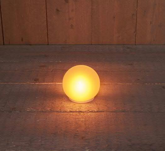 LED Glas Kugel 12cm Flammeneffekt für Batterie 3xAA nicht enthalten, warm weiß