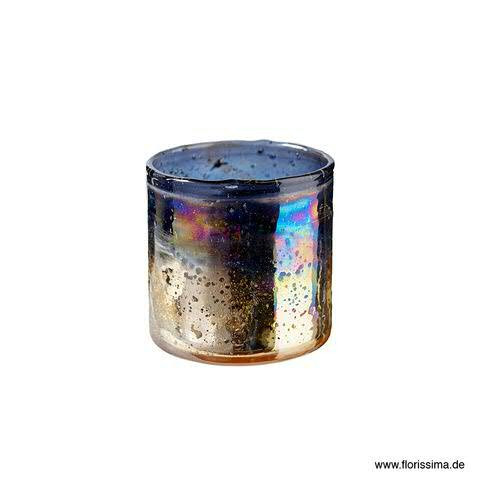 Teelicht Glas D10H10cm Regenbogen, gold/grau