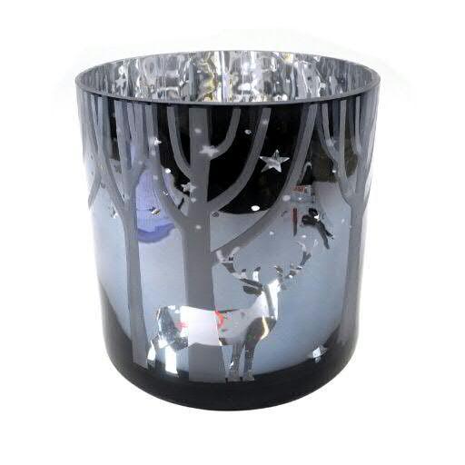 Glas Teelicht D20H20cm glänzend, grau