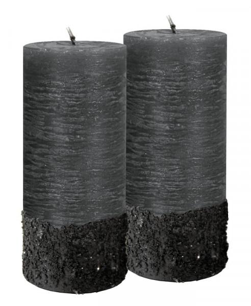 Stumpenkerzen Calla 130/60 gegossen, schwarz