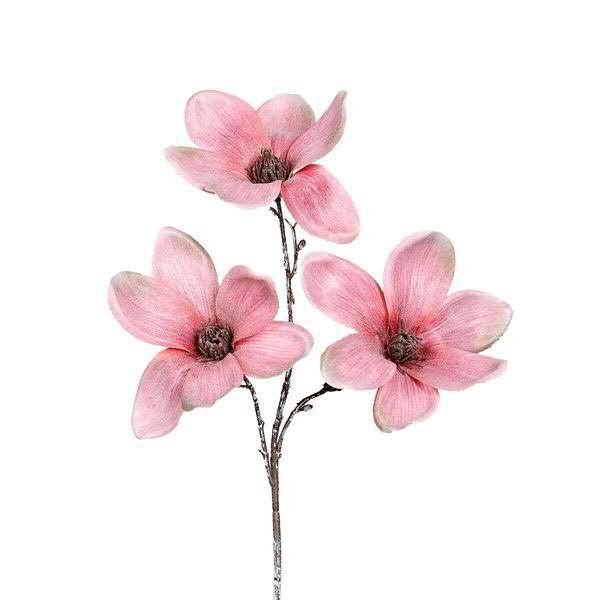 Magnolien Zweig 45cm beglittert, rose