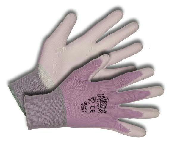 Handschuhe Gr.07 Nylon/Polyurethan, wß/flieder