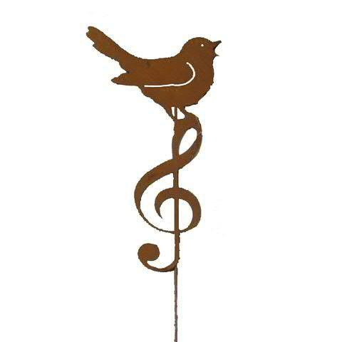 Vogel Metall 10x18x47cm am Stab mit Notenschlüssel, rost