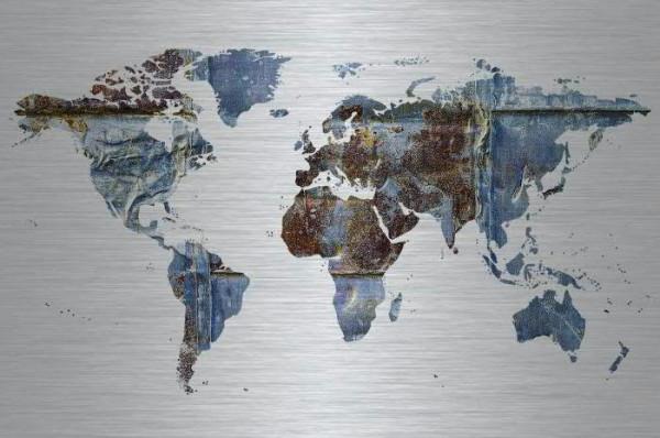 Bild Alu/Holz 148x98cm Weltkarte