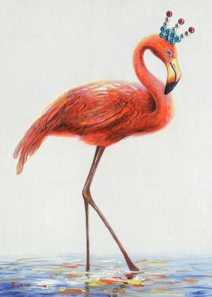 Bild Öl 50x70cm Flamingo mit Krone