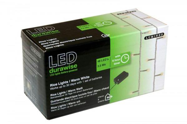 Lichterkette 48LED 3,5m Timer/Batt.out transparent, 3xAA, warm weiß