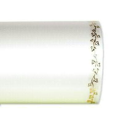 Kranzband 2504/150mm 25m Satin Efeurand gold, 311 weiß