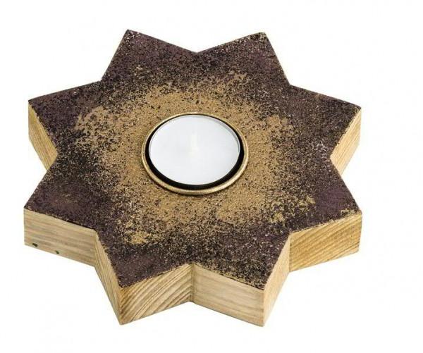 Stern SP Holz 16x3cm für Teelicht, pflaume