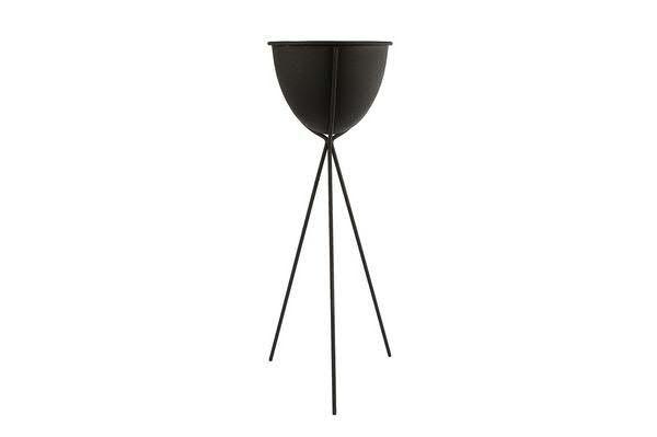 Kübel Metall D18H54cm auf Fuß, schwarz