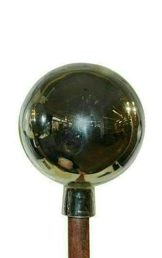 Rosenkugel 17cm mit Stab 120cm, silber