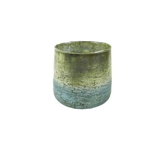 Teelicht Glas D15H15cm, blau/gold