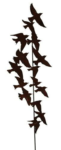 Rost Gartenstecker L190cm Vogelschwarm a.Stab L146cm