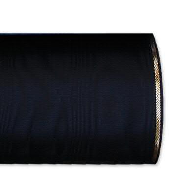 Kranzband 4422/075mm 25m Moire Goldrand, 210 schwar