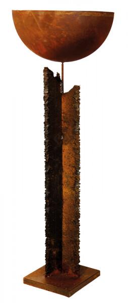 Rost Säule 10xH120cm a.Podest m.Schale D50cm