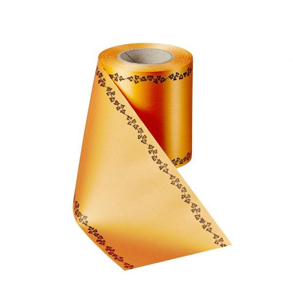 Kranzband 06739/200mm 25m Satin Efeurand schwarz, 086 terra