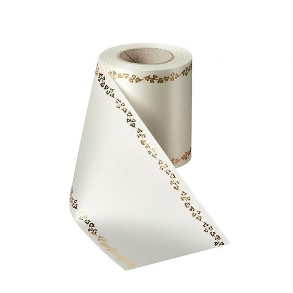 Kranzband 06738/225mm 25m Satin Efeurand gold, 003 cre/go