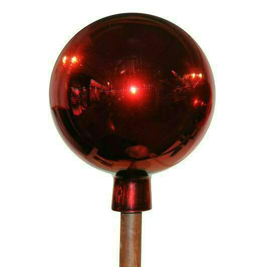 Klocke Deko rosenkugel 20cm mit stab 120cm rot gartenstecker metall