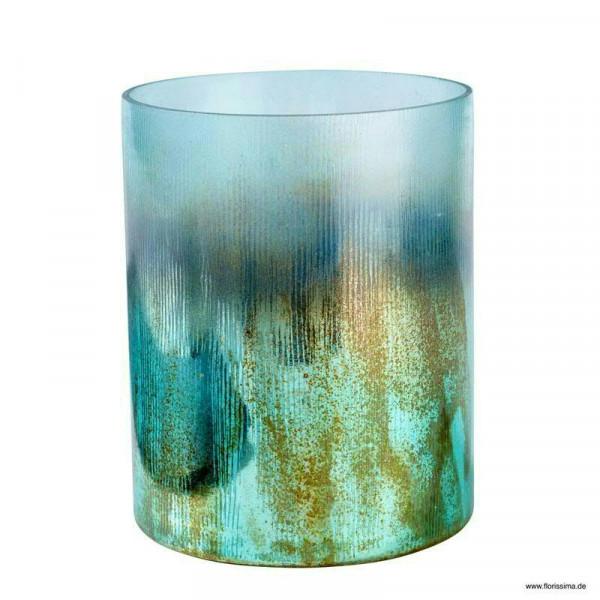 Glas Windlicht SP D12H15cm, türkis