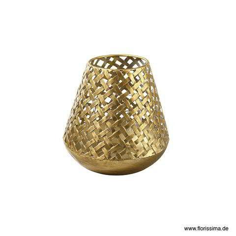 Windlicht Metall D17H17,5cm konisch, antik gold