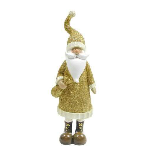 Santa Poly 8x6x26cm mit Glitter, gold