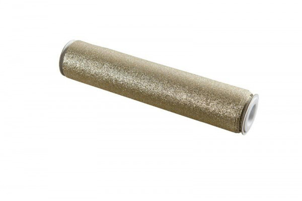 Stoff 28cmx3m Casino Glitter, weiß/gold