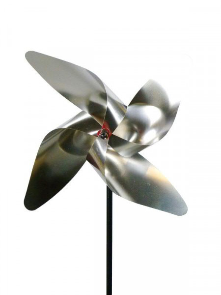 Windrad Edelstahl 36x110cm Silber Windspiele Räder Metall
