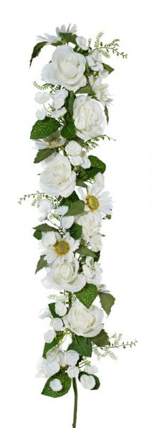 Rosen/Margeriten SP Girlande 62cm, weiß