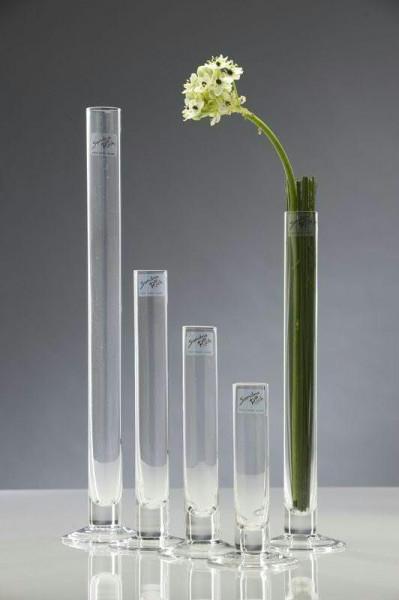Glas Rohrvase H25D3cm Solifleur, auf Fuß