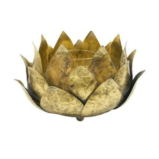 Windlicht Metall D24H13cm Blätter, antik gold