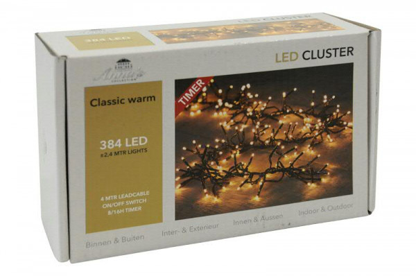 Clusterlights 384LED 2,4m outdoor mit Timer Licht classic warm weiß, classic