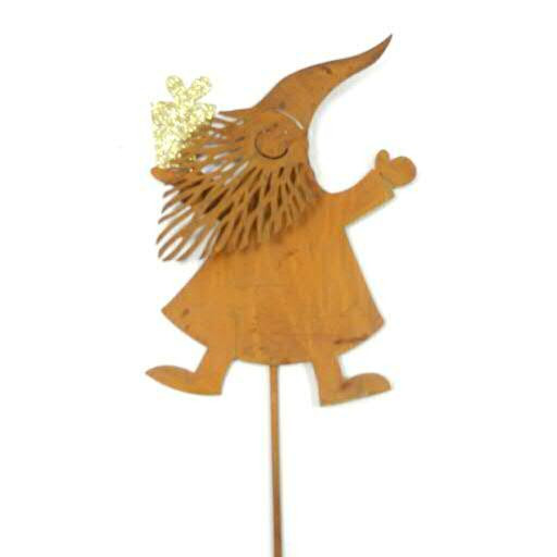 Zwerg Rost 13/82cm am Stab mit Glitter Geschenk, rost