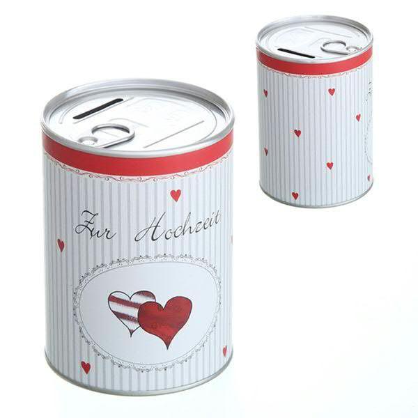 Spardose Pappe/Alu D8,6H12cm Hochzeit, weiß/rot