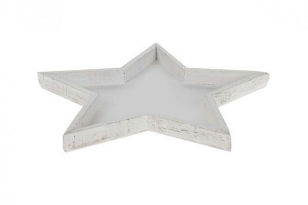 Tablett Holz 40x3cm Stern, weiß wash