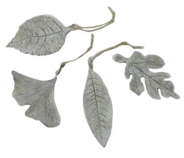 Blätter Poly 4St.12x7x2cm Trauer, steingrau
