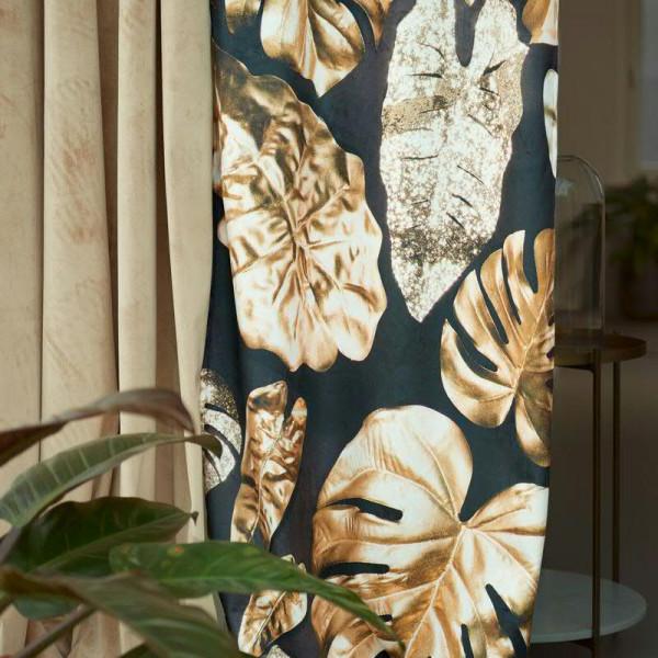 Vorhang 68x250cm Samt Motivdruck Blätter, 311 gold