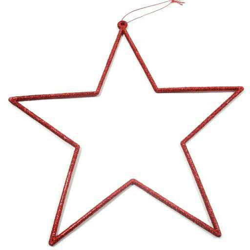 Stern Poly D24cm 6St. m.Glitter offen, rot
