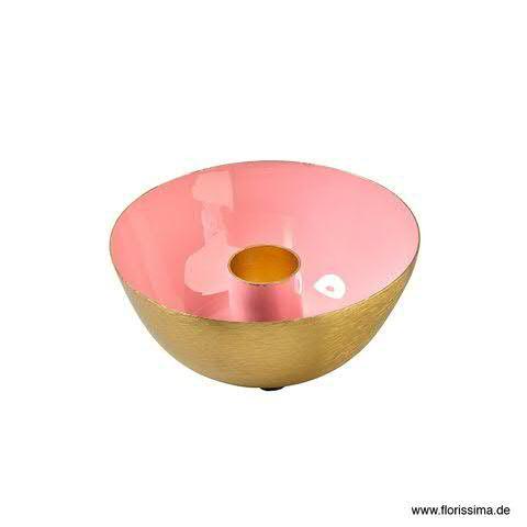 Kerzenhalter Schale Metall D10H4cm, pink