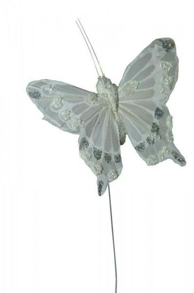 Schmetterling 12St.7x5x20cm am Draht Stecker, weiß
