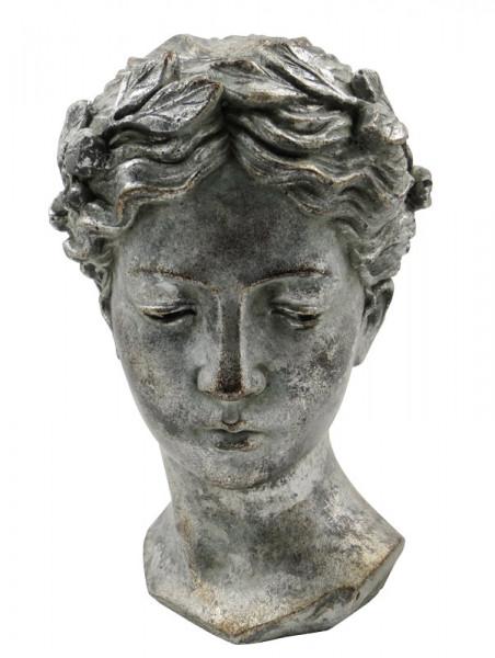 Büste Keramik 18,5x17,5x28cm Olympia, antiksilbe