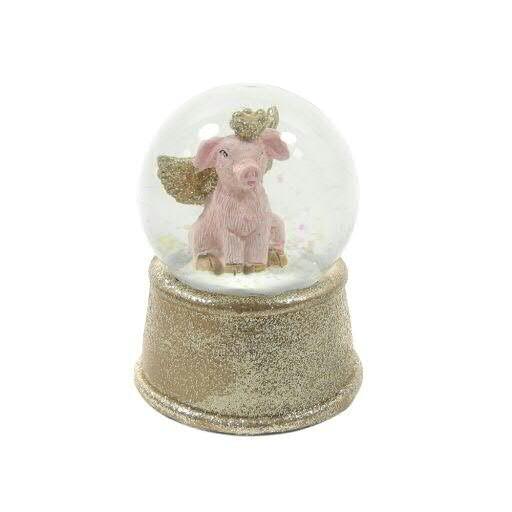 Schneekugel Poly Schwein 9,5cm, rosa