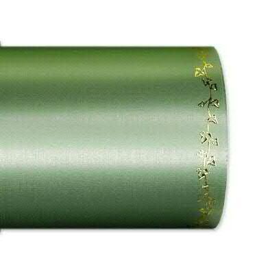 Kranzband 2505/100mm 25m Satin Efeurand gold, 706 grün