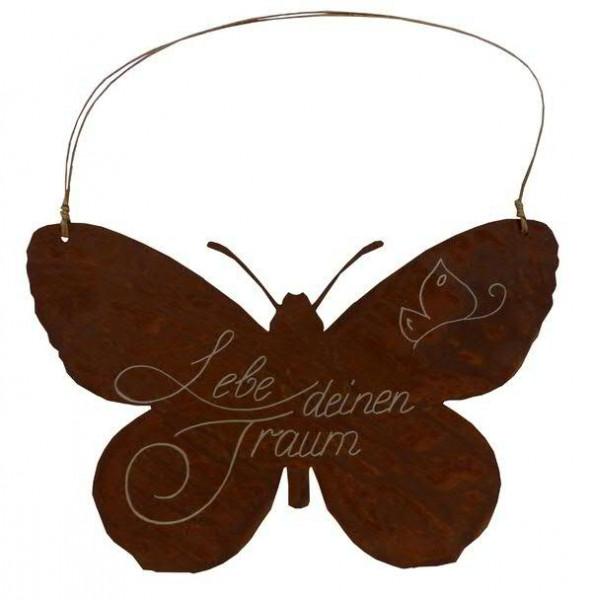 Rost Schild 37x25cm Schmetterling Beschriftung Lebe deinen Traum
