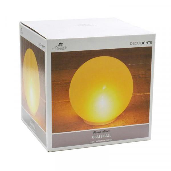 LED Glas Kugel 15cm Flammeneffekt für Batterie 3xAA nicht enthalten, warm weiß